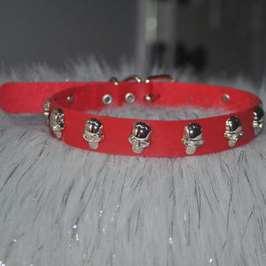 Red Skull Studded Leather Choker